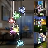 GLKEBY Campanelli Eolici Solare, Lampada da Giardino Che Cambia Colore Antipioggia con Controllo della Luce, Decorazione dell