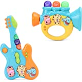 Wishkey Colorful Musical Guitar & Trumpet with Light & Different Sounds, Battery Operated Educational Entertainment Toys…