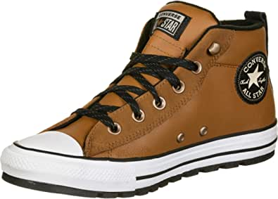 Converse Chuck Taylor all Star Street Leather Mid - Warm Tan/Bianco/Nero Pelle