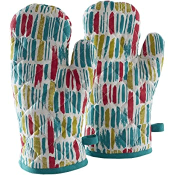 Amazon Brand - Solimo 100% Cotton Padded Oven Gloves, Dashes (Pack of 2, Multicolour)