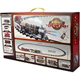 Timely RC Toy Train and Track Set with 4 Cars, 4 Realistic Train Sounds, Smoke and Headlight for Kids