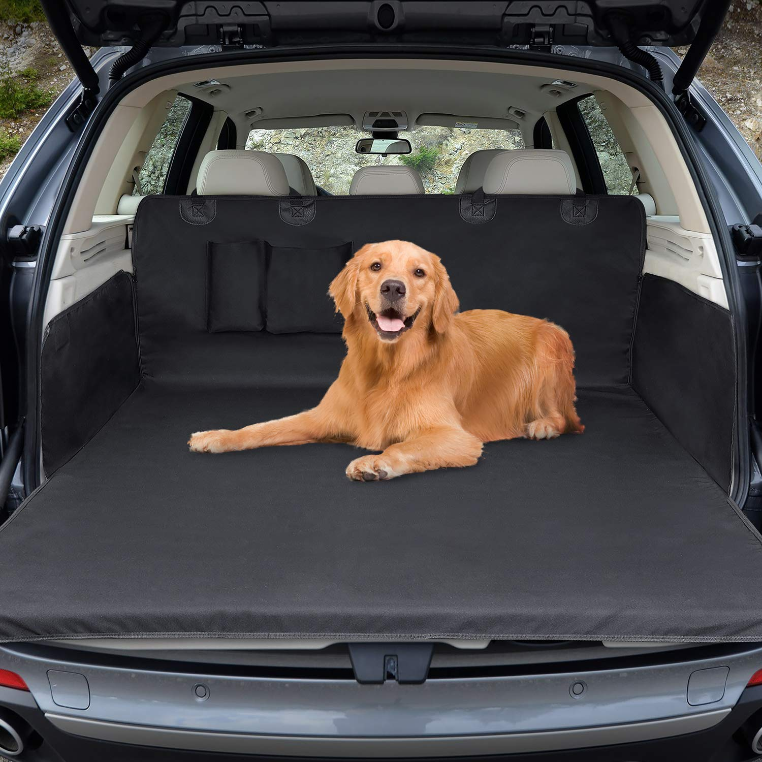 Winipet Car Boot Liner Protector, Waterproof Auto Mat Dogs Cover, Trunk Dog Blanket Car Protective with Side Protection, 180×103 CM Anti-Slip Scratch Dust Hair for Car Van SUV Trucks