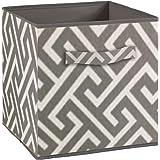 Compo Boîte de Rangement Tiroir avec Poignée en Tissu Motif Labyrinthe Gris Blanc 27 x 27 x 28 cm