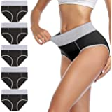 wirarpa Ladies Cotton Knickers High Waisted Underwear Full Coverage Briefs Comfy Panties for Women 5 Pack