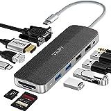 TSUPY HUB USB C 12 en 1 Diseño de Tela Tipo C Adaptador y HDMI 4K con VGA 4 Puertos USB 100W PD Carga RJ45 Ethernet Audio Lec