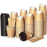 100 Kraft Vasos Desechables 240 ml de Doble Pared de Café para Llevar - Vasos Carton con Tapas y Agitadores de Madera para Se