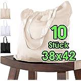 Baumwolltasche 38x42 cm 10 Stück unbedruckt, zwei lange Henkel OEKO-TEX® zertifiziert Stofftasche, Tragetasche, Baumwollbeute