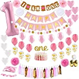 Party Propz Girls First Birthday Decorations Items Combo 65Pcs for Baby Girl 1st Bday Décor/Photo Booth Backdrop Decoration m