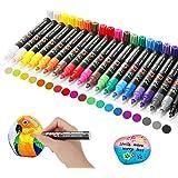 RATEL Peinture Acryliques Stylos, 20 Couleurs Marqueur Stylos Acrylique à Base d'huile Pigment étanche, Costume pour Pierre,
