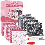 Lot de 14pcs Mixtes Textile Tissu Carrés en Coton Imprimé Textiles pour DIY Patchwork Bricolage Artisanat Couture…