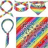 Accessoires de Gay Pride - Bandanas Arc-en-Ciel en Coton(4 pièces) - Serre-tête carré, Bandeau Hip-hop Bandana de Gay Pride,