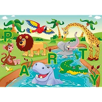 Lot de 6 cartes d'invitation «animaux de zoo marrants fête pour anniversaire d'enfant au zoo ou ...