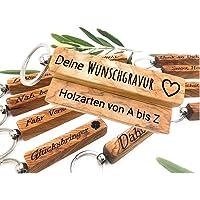 Schlüsselanhänger mit Gravur   Edelholz   Personalisierbar mit Wunschgravur & Symbolen   Geburtstag   Geschenk