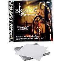 SIGARA-The Hookah Shop- Silver Hookah Foil Papers/Aluminium Foil for Hookah/Shisha 50Pc. (Free Foil Pin Inside)
