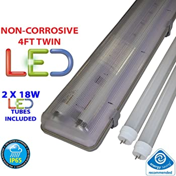 4FT TWIN LED 2 X 18W - NON CORROSIVE WEATHERPROOF FLUORESCENT LIGHT FITTING - IP65 - ENERGY EFFICIENT OUTDOOR STRIP LIGHT - IDEAL FOR GARAGES, WORKSHOP, SHEDS, GREENHOUSES OR COMMERCIAL APPLICATIONS - STURDY CONSTRUCTION - POLYCARBONATE DIFFUSER - BRANDED - 3 YEAR LAMP GUARANTEE - INCLUDES LED TUBE 2 x 18 WATT