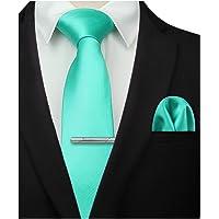 HISDERN Solid Color Wedding Tie and Pocket Square, Tie Clip Set for Men