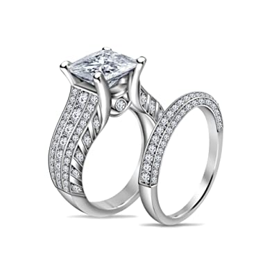 Buy atjewels 14K White Gold Over 925 Silver White Diamond
