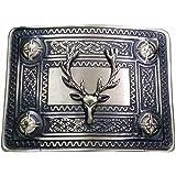 Men's Kilt Belt Buckle Celtic Knot Antique/Chrome/Gold Plated with Stag Heads Badge
