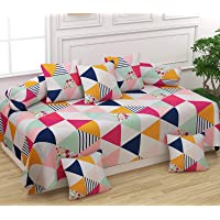 FESTIVAL HOME FURNISHINGS Cotton 400TC Diwan Set (60X90 Inch Bedsheet 16x16inch Cushion Covers 18x28 inch Bolster Covers) Multicolor