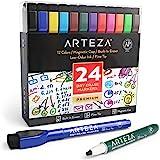 Arteza Magnetyczne markery do tablic suchościeralnych, 24 kolorowe pisaki z cienką okrągłą końcówką, zmywalne na sucho, z fil
