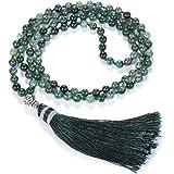 CrystalTears Bracciale Collana Buddha 108 Perline Mala da Donna Pietra Naturale Perle 6 mm con Nappa Tibetano Buddista Rosari