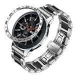 Galaxy Watch 46mm / Gear S3 Band + Bezel, TRUMiRR 22mm Ceramic & Stainless Steel Watchband + Bezel Ring Quick Release...