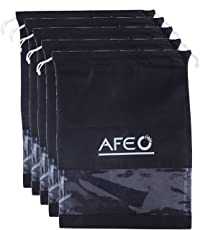 AFEO Non-Woven Fabric Shoe Bag with Transparent Window (Black) - Pack of 5
