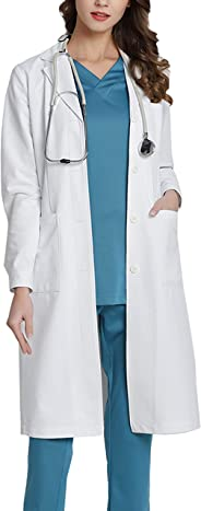 WWOO Women's Professional Lab Coat White Doctor Workwear Scrub Uniforms Medical Work Coat Material Upgrade