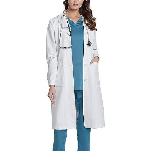 WWOO Camice da Laboratorio Donna Bianco Abbigliamento da Lavoro e Divise Camice Donna Aggiornamento del Tessuto