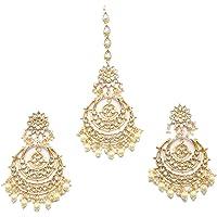 Zeneme Traditional Gold Plated Big Chandbali Kundan & Pearl Earring Set With Maang Tikka for Women