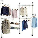 SoBuy® KLS04 Télescopique Garde-Robe Système Herkule Penderie Télescopique 5 Barres Portant de Vêtement, 2 Paniers et 1 Vêtem