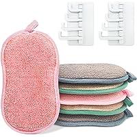 LISOPO 6pcs Éponges à Vaisselle Lavable Éponges Ecologique Eponge a Recurer en Microfibre Grattante Tampons…