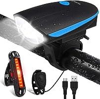Luci per Bicicletta, OMERIL Luci Bicicletta LED Ricaricabili USB con Clacson, Luce Bici Anteriore e Posteriore Super...