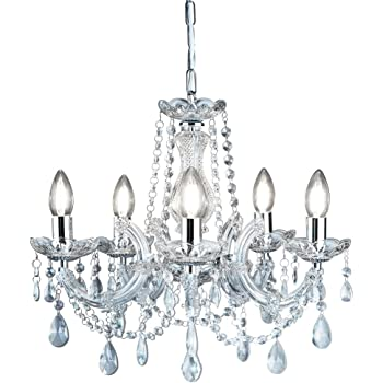 399-5 Marie Therese Chrome 5 Light Chandelier with Crystal Droplets