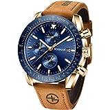 BERSIGAR Elegante orologio da uomo con movimento al quarzo analogico Cinturino in cronografo impermeabile Orologio da uomo st