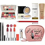 volo All In One Professional Women's Makeup Kit (3 Pcs Lipsticks,1 Eye Shadow, 1 Lip liner,1 Foundation,1 Eyeliner, 1 Compact