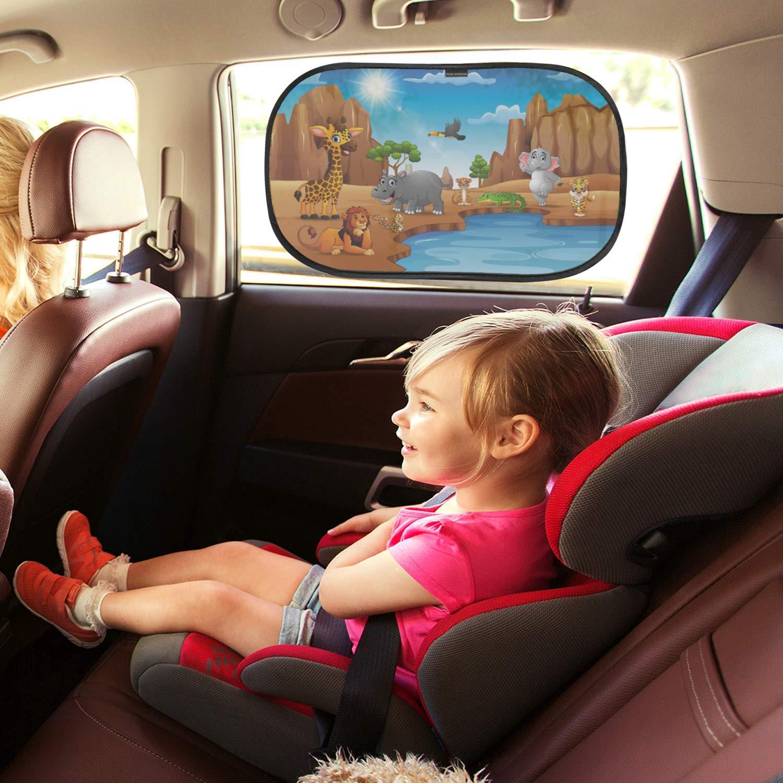 fornisce massima protezione UV facile installazione rimozione Color : Black-L 2 pz auto posteriore parasole finestra laterale