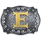 STARBRILLIANT Western Belt Buckles for Men A to Z Initial Letters Cowboy Belt Buckles with Cloud Roll Edging,Black Gray