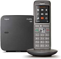 Gigaset CL660A Telefon - Schnurlostelefon / Mobilteil - mit Farbdisplay / Grosse Tasten - Design Telefon / Anrufbeantworter / Freisprechen / Analog Telefon, anthrazit
