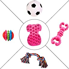 Jainsons Pet Products Dog & Puppy Rubber Chew Toys, Squeaky Ball and Cotton Bone Chew Toy