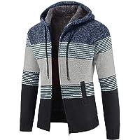 Mens Knitted Cardigan Hoodie Sweater Chunky Knitwear Jumper Full Zip Autumn Winter Coat