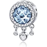 FOREVER QUEEN Acchiappasogni Ciondolo in Argento Sterling 925 Dreamcatcher Bead Charms Pendenti Cuore Radiant CZ Crystal Bead