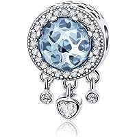 FOREVER QUEEN Capteur de rêves Charms Argent Sterling 925 Dangle Coeur Radiant CZ Perle de Cristal pour Bracelet Collier