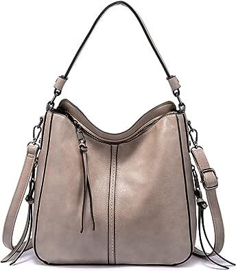 Realer Handtaschen Damen Lederimitat Umhängetasche Designer Taschen Hobo Taschen Mittel mit Quasten Khaki