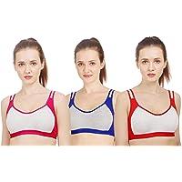 Supreme Bazaar Sports Bra for Women/Girls Active Bra - Multicolor (Pack of 3)