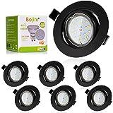 Bojim Spot LED Encastrables Noir, 6x 6W GU10 Spot de plafond Blanc Neutre 4500K Rond Plafonnier Encastré 600lm Equivalente de