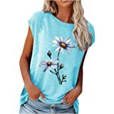 TBSCWYF Women's Striped Short Sleeve Round Neck Casual Summer Fashion Ladies T-Shirt Tee Holiday Baggy Tops Loose Floral Prin