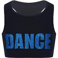 iEFiEL Kids Girls Racer Back Crop Tops Sports Bra Ballet Dance Gymnastic Leotard Tank Tops Activewear Dancewear
