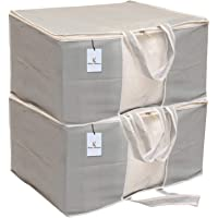 Kuber Industries 2 Piece Non Woven Front Handle Underbed Storage Organiser, X-Large, Grey
