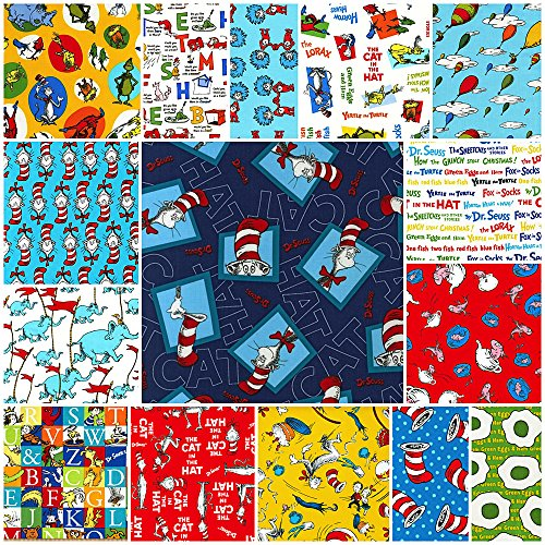 Robert Kaufman Fabrics 15 DR. SEUSS Fat Quarters Robert Kaufman Precut Fabric Cotton Quilting FQs Assortment Dr Seuss